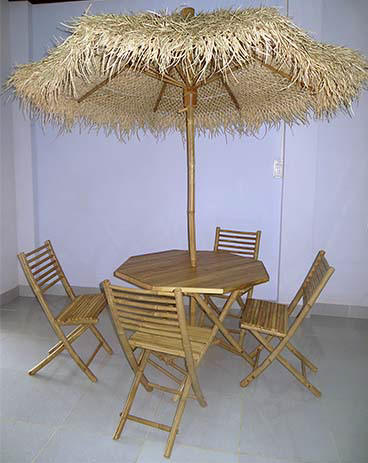BPS-8 Bamboo Palapa Table and Chair Set