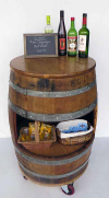 BCT-34P, Portable Wine Barrel Display Counter Table, 24' table top. Lacquer finished.